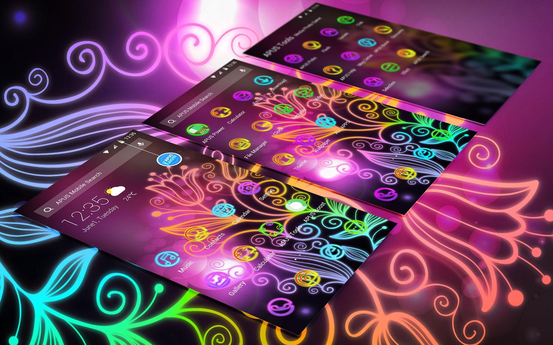 Beautiful Neon Colorful Flowers Theme & Wallpaper For