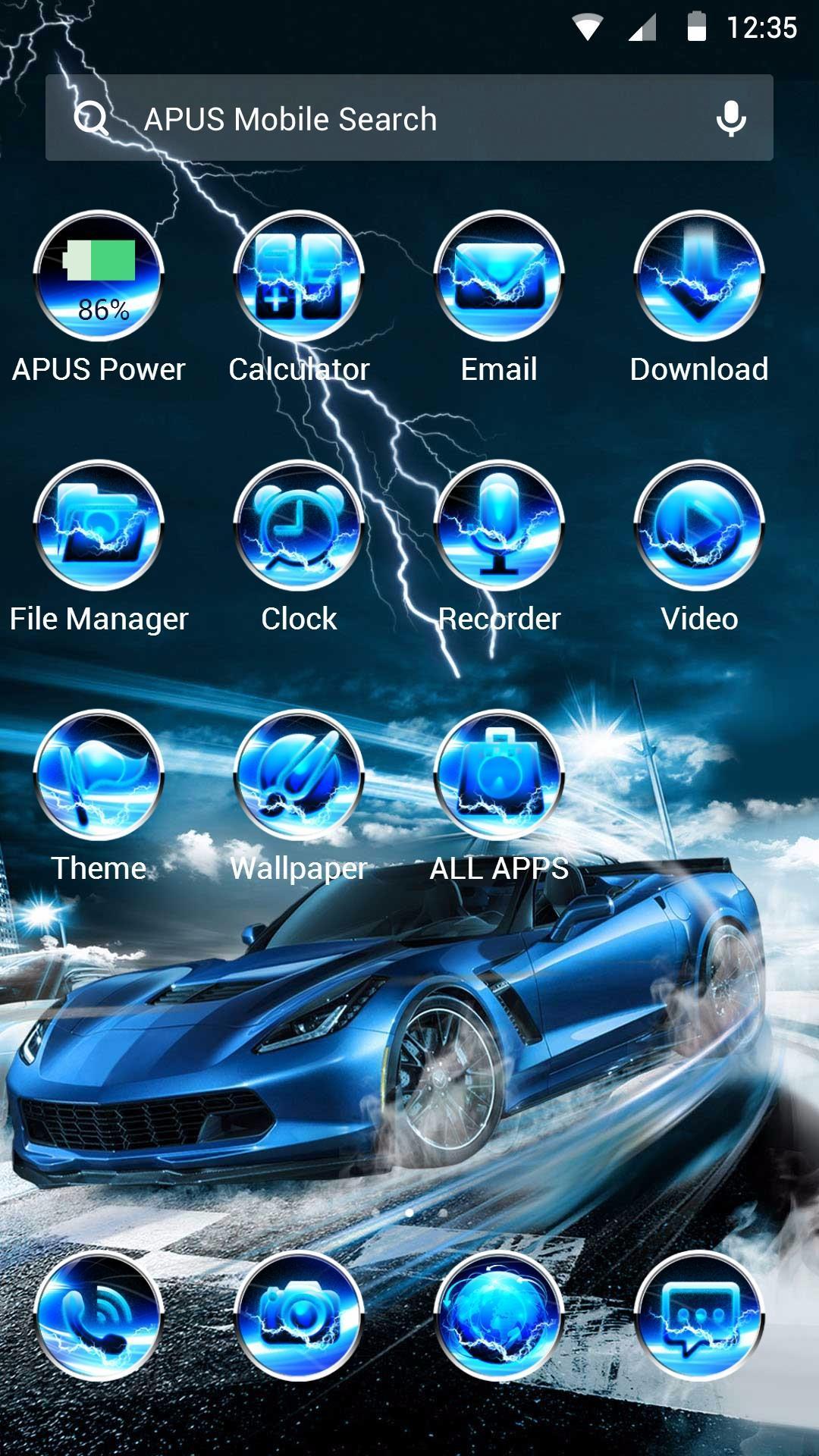 Android 用の 青い稲妻涼しく車でテーマ 壁紙 Apk をダウンロード