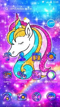 Galaxy Shiny Unicorn APUS Launcher theme poster