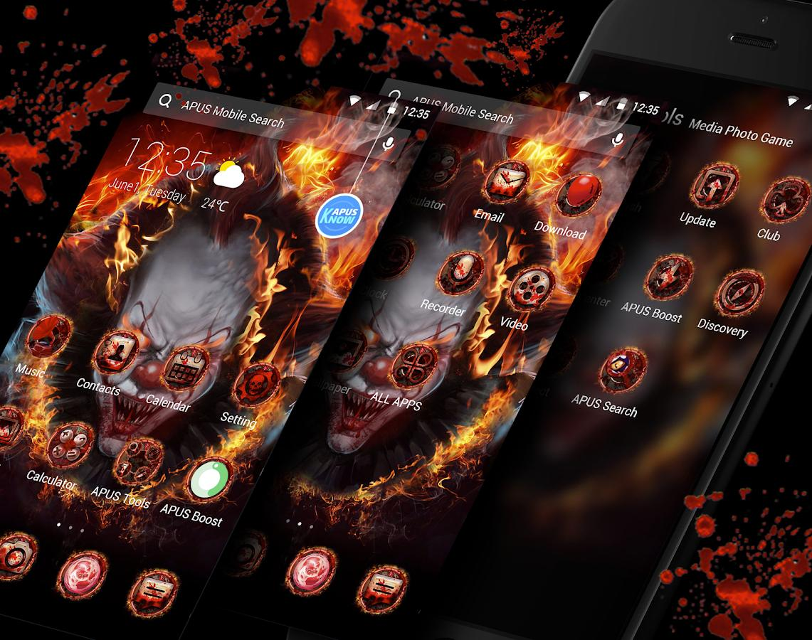 evil flame scary clown theme hd wallpapers for android apk download evil flame scary clown theme hd