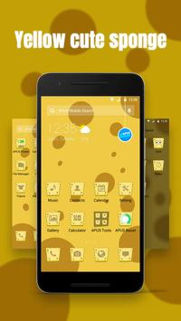 Yellow cute sponge theme apk screenshot