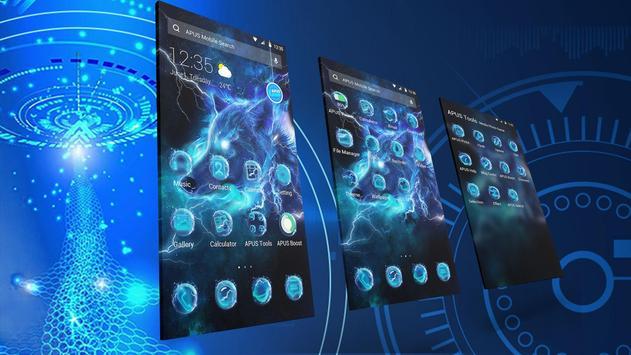 Starlight Galaxy Ice Wolf APUS Launcher Theme Screenshot