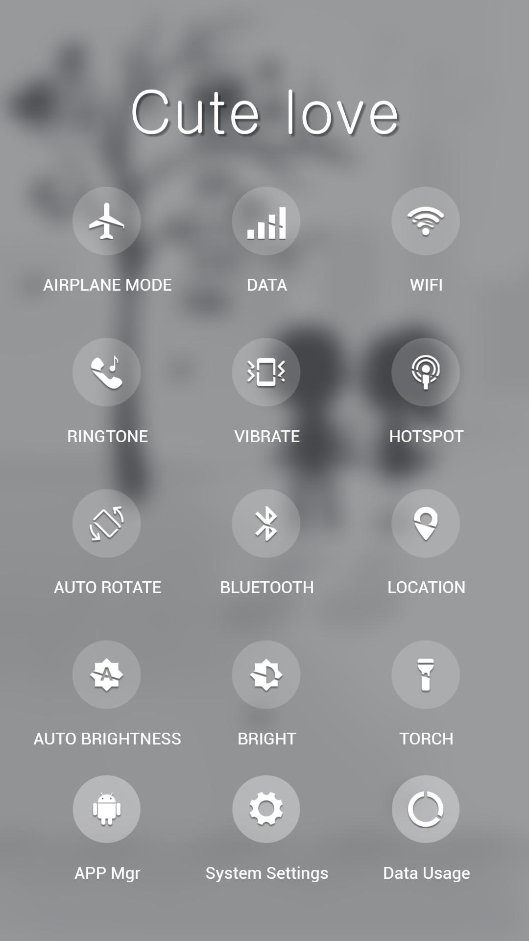 White black love apus launcher theme screenshot 2