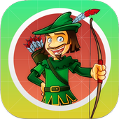 Shoot arrow at targets archery icon