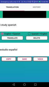 English to Spansih Translator apk screenshot