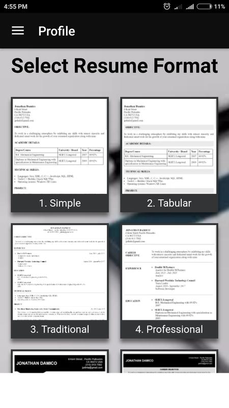 Free resume builder CV maker templates PDF formats for Android - APK ...