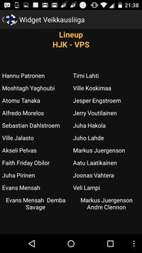 Widget Veikkausliiga screenshot 2
