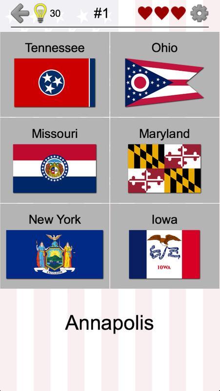 50 us states map capitals flags american quiz apk screenshot