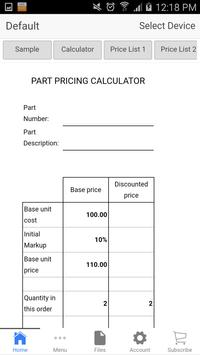 Part Pricing poster