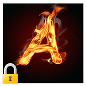 Burning Letter A Lock icon