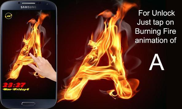 Burning Letter A Lock screenshot 3