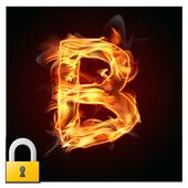 Burning Letter B Lock icon