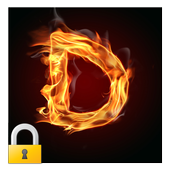 Burning Letter D Lock icon
