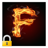 Burning Letter F Lock icon