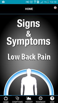 Signs & Symptoms Low Back Pain poster