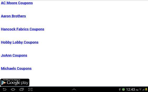 Arts and Crafts Coupons apk screenshot