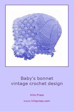 Baby bonnet crochet pattern poster