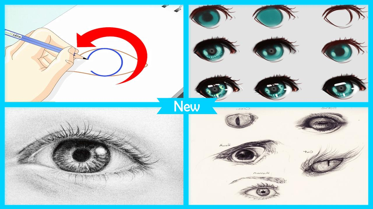 Easy drawing human eye step by step poster