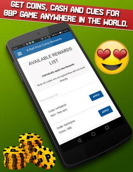 8Ball Pool instant Rewards: unlimited coins & cash poster