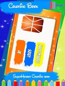 Basketball 3D Logo Coloring poster
