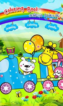 Coloring book Animal friends poster