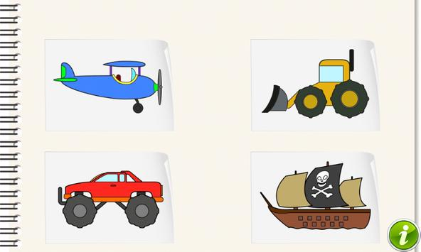 Vehicles and Cars Coloring Kid poster