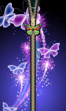 Butterfly Zipper Lock Screen apk screenshot