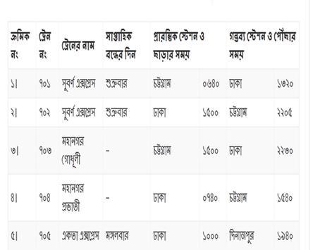 সকল ট্রেনের সময় সূচী apk screenshot