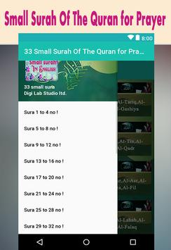 33 Small Surah Of The Quran for Prayer poster