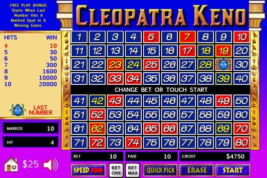 Cleopatra Keno - Big Bets screenshot 3