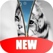 Kitty Cat Zipper Lock Screen HD icon