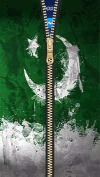 Pakistan Flag Zipper Lock Screen HD poster