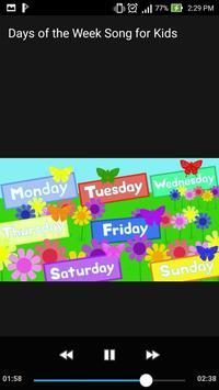 Days of the Week Song for Kids Offline Video screenshot 1