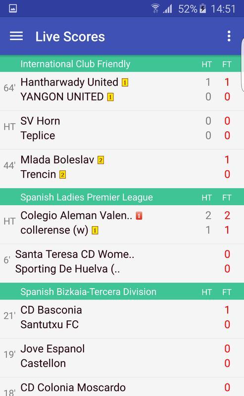Mobile soccer result