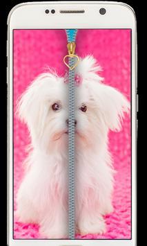 Cute Puppy Zipper Lockscreen 2018 poster