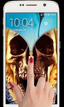 Hell Devil Death Fire Skull Zipper lockscreen 2018 apk screenshot