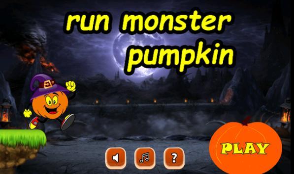 run monster halloween pumpkin poster