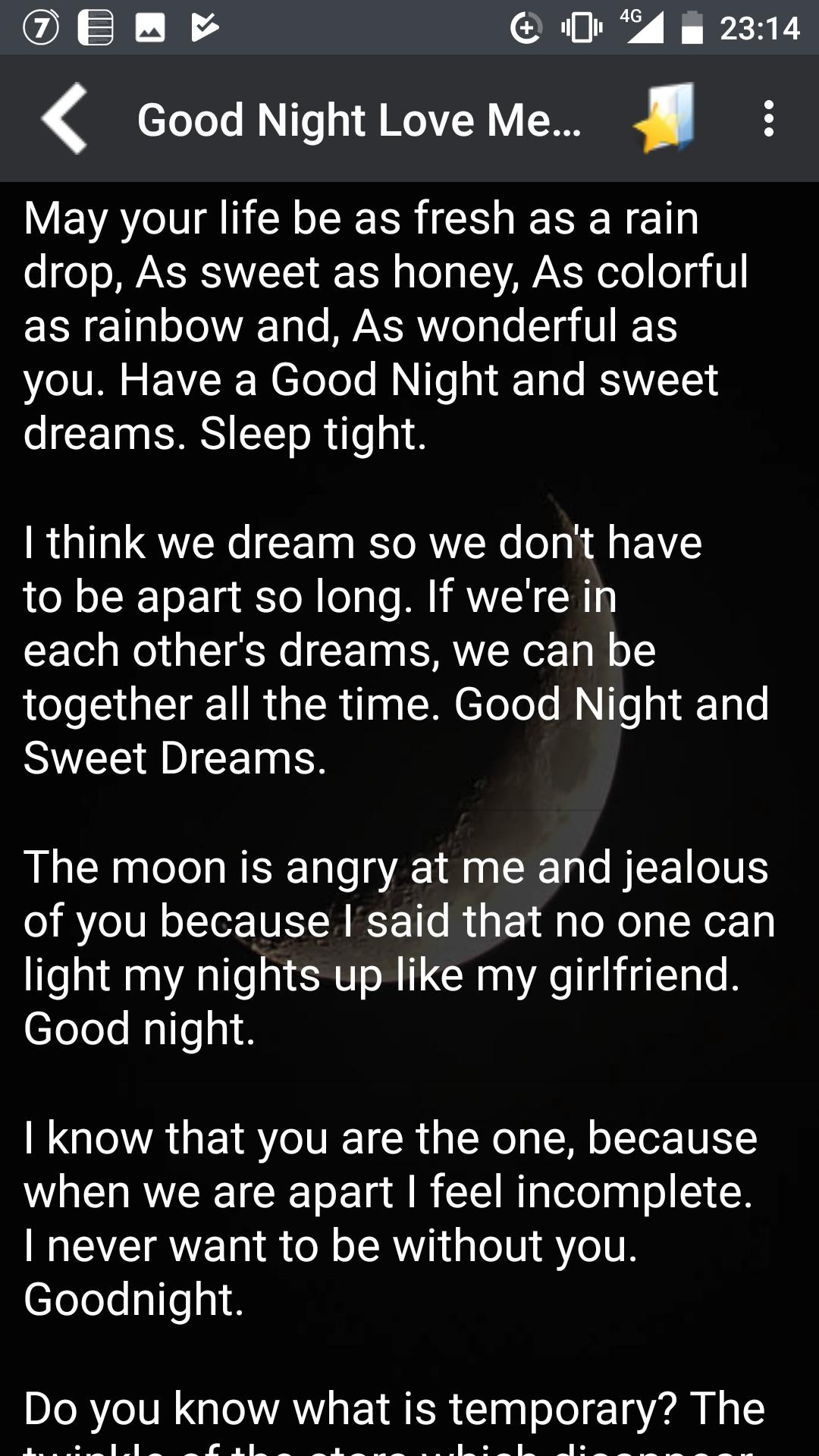 My girlfriend text to goodnight How do