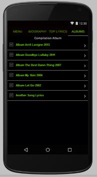 Avril Lavigne Full Lyrics apk screenshot