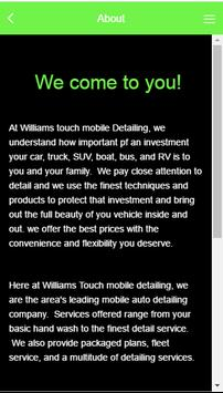 Williams Touch Mobile Detailin apk screenshot