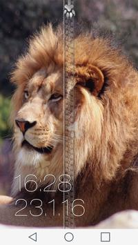 Lion Zipper Lock Screen apk screenshot
