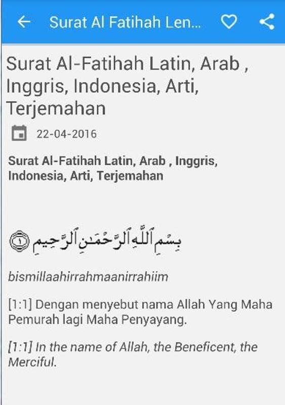 Surat Al Fatihah Beserta Artinya Dalam Bahasa Inggris