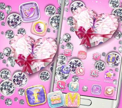 Bling Heart Diamonds Theme apk screenshot