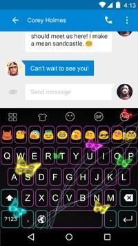 Emoji Keyboard-Neon Butterfly screenshot 3