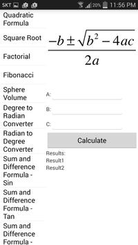 BK Formula Calculator screenshot 1