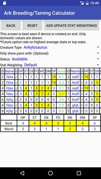 Breeding/Taming Calculator: Ark Suvivial Evolved apk screenshot
