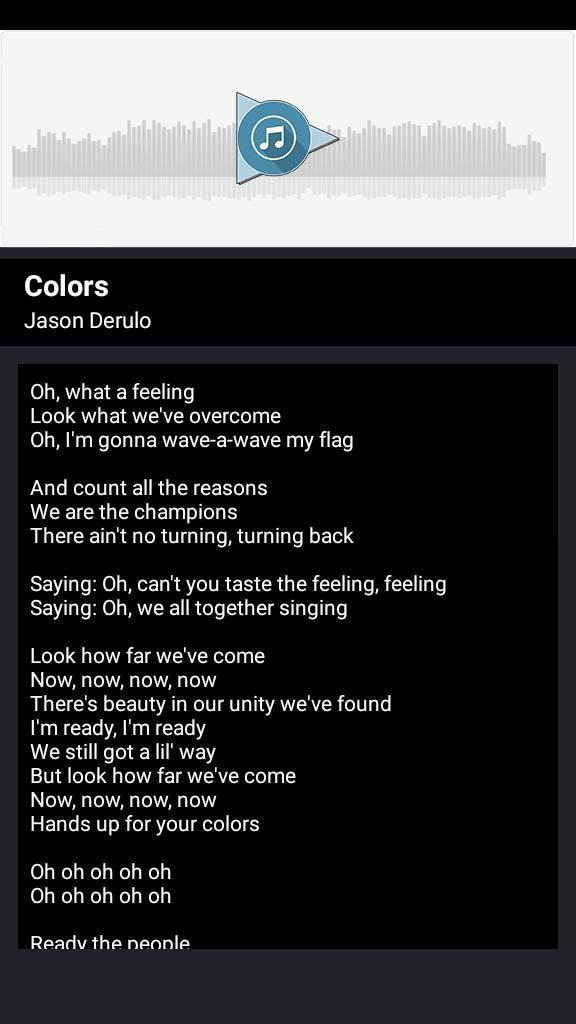 Jason Derulo - Colors (Songs and Lyrics) for Android - APK