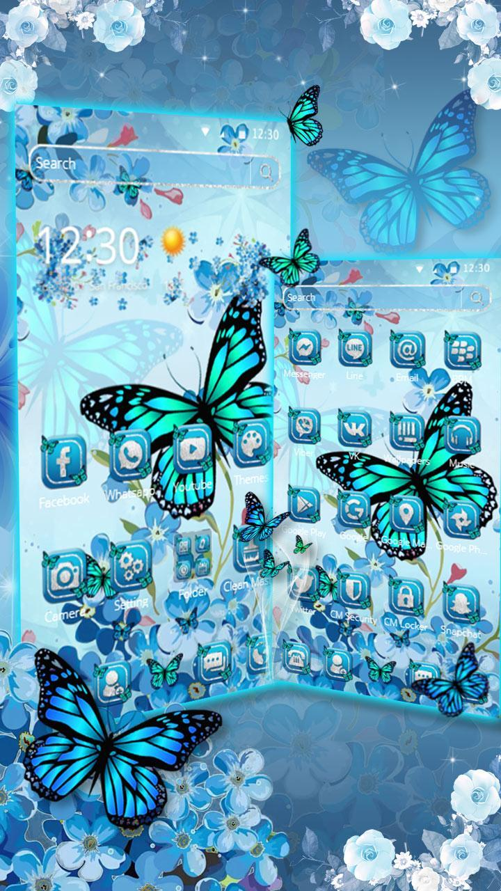 Blue Cherry Butterfly Theme For Android Apk Download