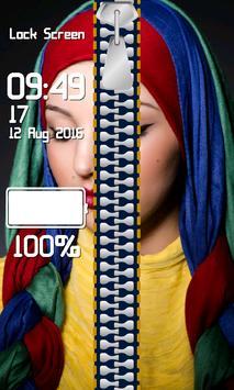 Zipper Lock Screen Hijab screenshot 3