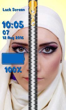 Zipper Lock Screen Hijab screenshot 12